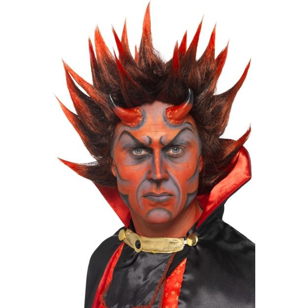 Devil Punky Wig, Red and Black