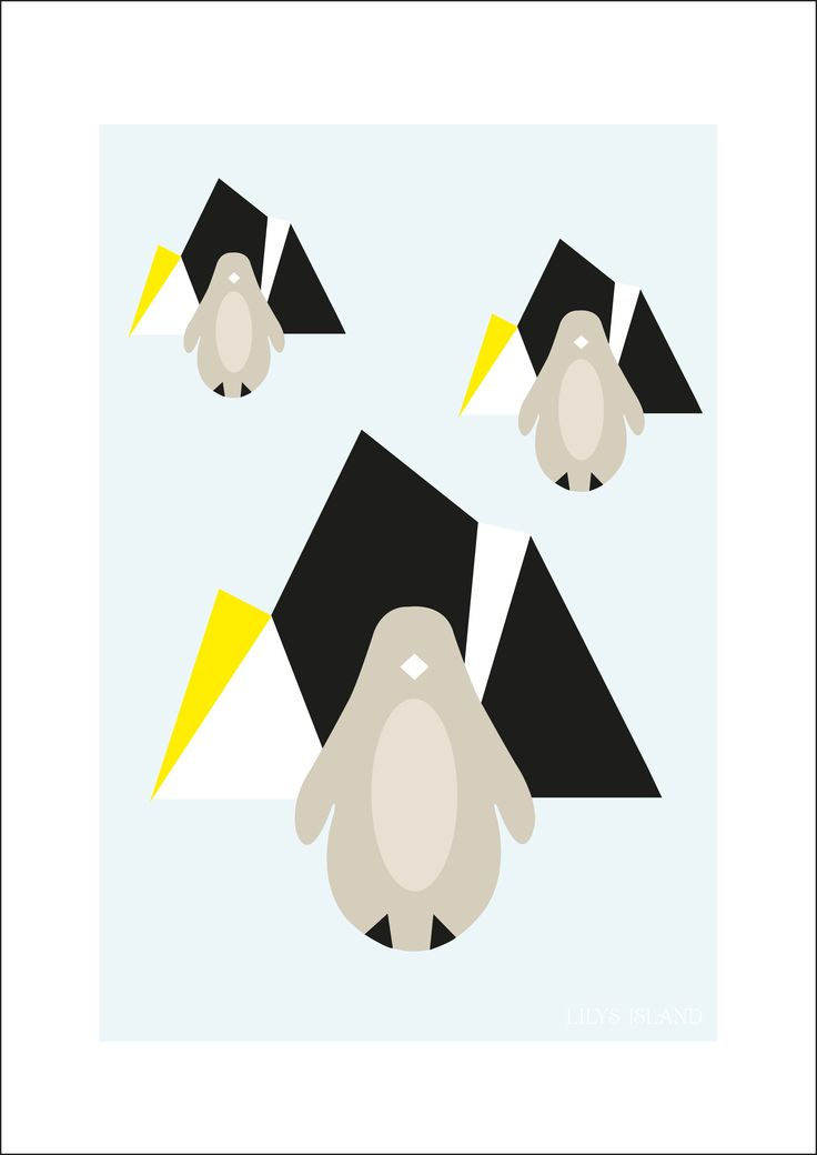 Penguin poster Arctic Night blue by Lilys Island