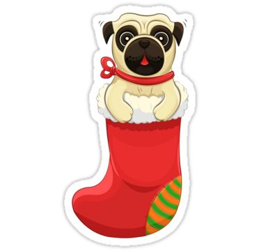 Christmas Pug Stickers by AnMGoug on Redbubble. #pug #sticker #Stocking #Christmas #dog