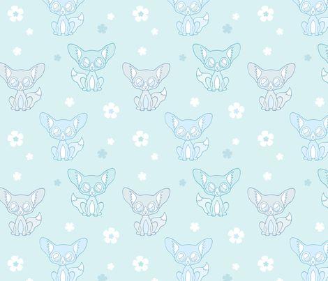 Fennec Fox Flowery Fun fabric by nossisel on Spoonflower - custom fabric