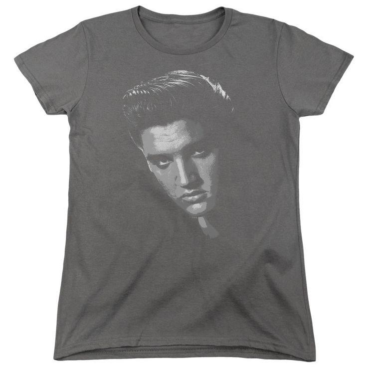 Elvis American Idol Charcoal Womens T-Shirt