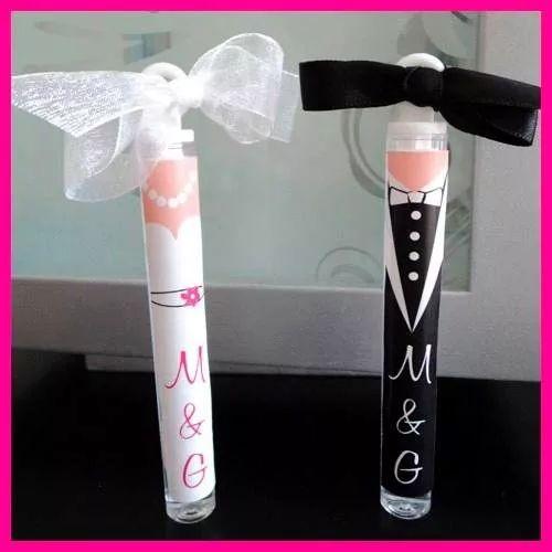 10 burbujeros de tubo personalizados para boda, xv años etc.