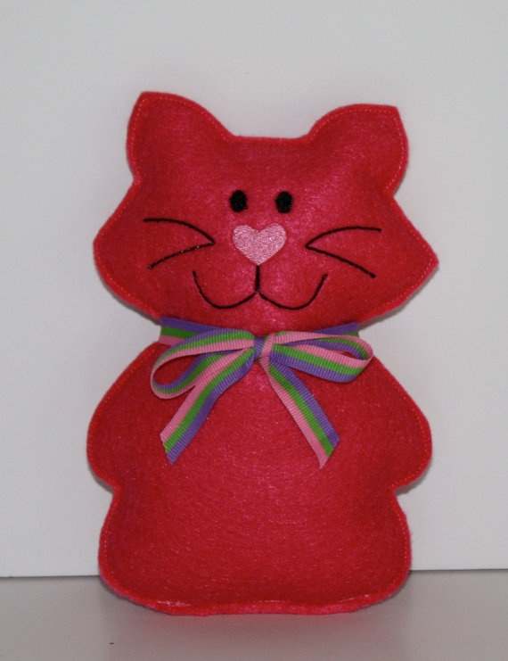 Little Pink Kitty Cat Felt Softie by FrogBlossoms on Etsy, $5.00
