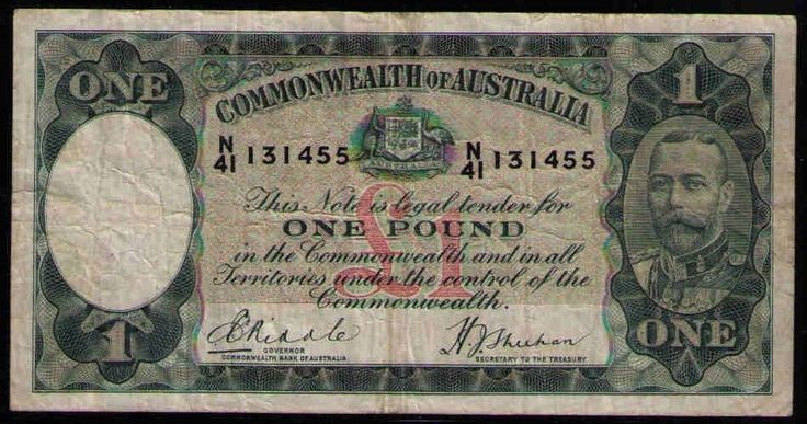 R28 Australia  1933 ONE POUND RIDDLE/SHEEHAN - FINE++