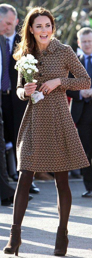 Duchess of Cambridge makes first visit as royal patron of The Art Room wearing dove-print dress