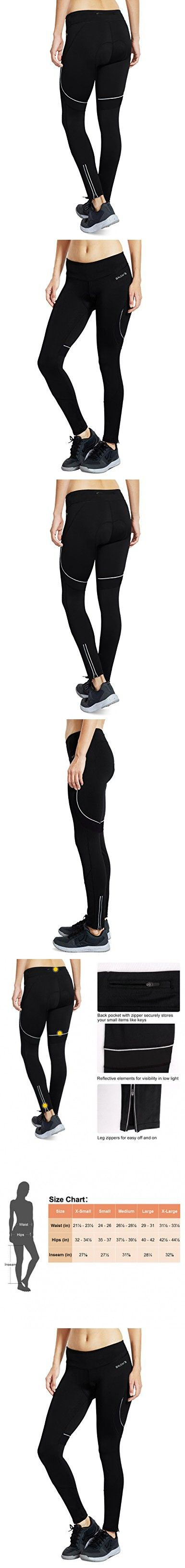 Baleaf Women's 3D Padded Cycling Tights Pants Wide Waistband Black Size L