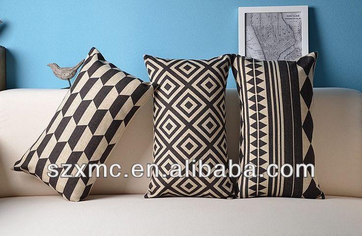 Sofa Rectangle Decorative Geometric Design Black And White Long Cushion In Cover Decoratice Linen