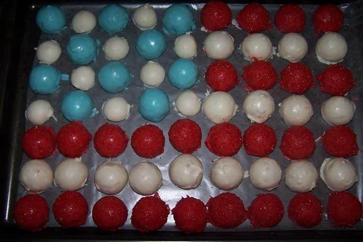 4th of July: Anytime Treats, Patriotic Cake, Mini Cupcakes, Oreo Ball, July Cake Balls, Ball Cake, July Cake Pops