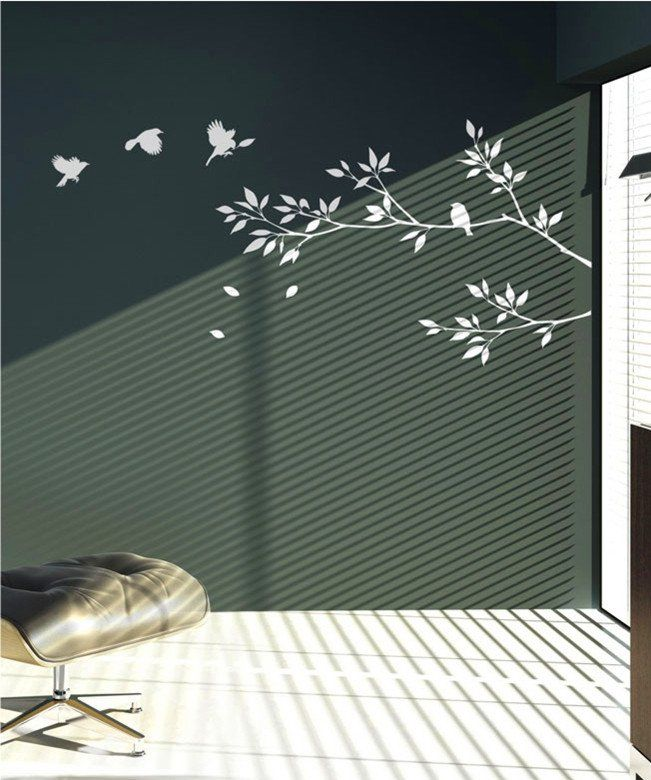 Tree Wall Decal Wall Sticker Tree With Birds Decals  Lovely Tree Branches  With Birds Part 60