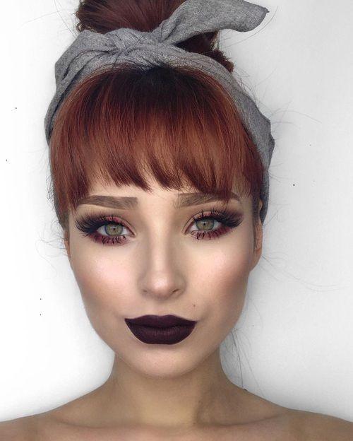 makeup, eyes, and hair