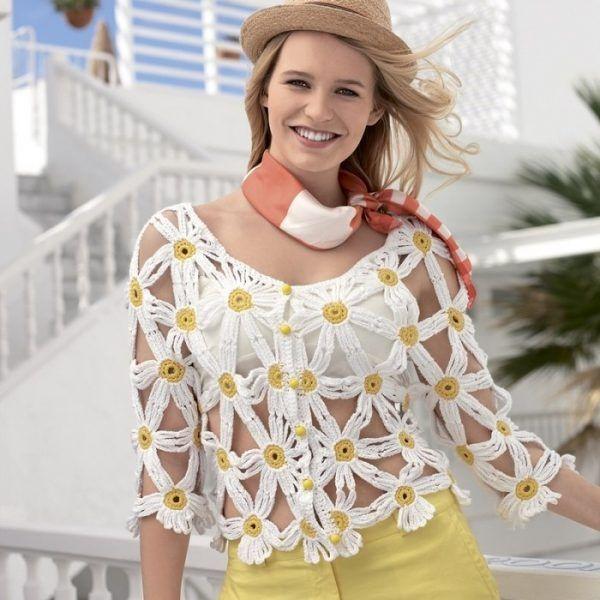 Bolero Fácil en Crochet com Margaritas