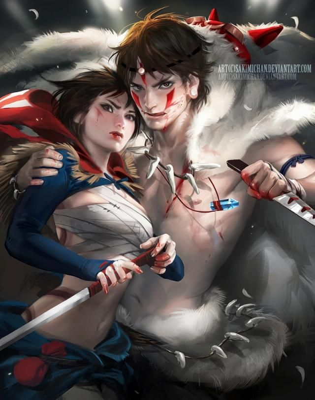 サンが男でアシタカが女に!キャラクターの性別を変えてみた、sakimichanの性転換イラスト13枚