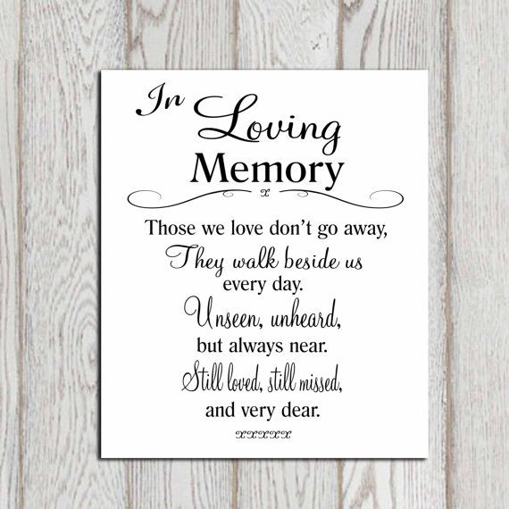 In loving memory printable Memorial table Wedding by DorindaArt, $5.00