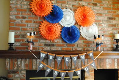 Calico and Cupcakes: Blue and Orange Baby Shower
