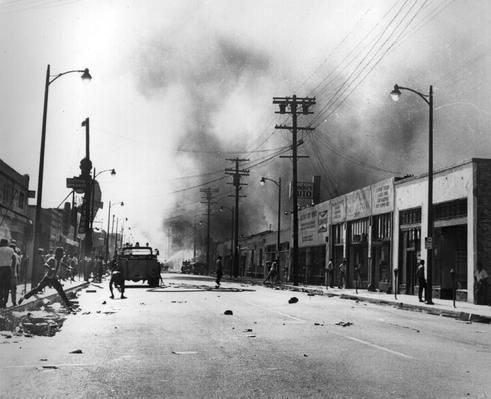 LOS ANGELES — Protestors on the burned out streets of the Watts District after the 1965 race riots in Los Angeles.