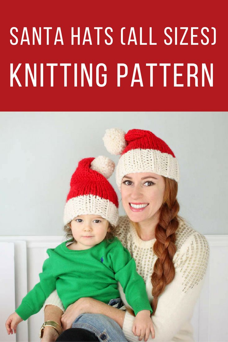 FREE Santa Hat Knitting Pattern for the whole family!