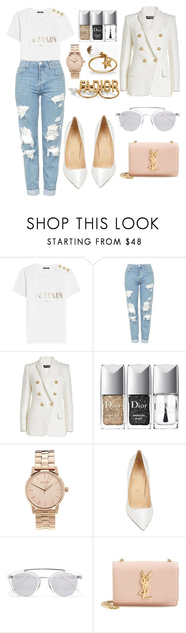 """Untitled #9057"" by tatyanaoliveiratatiana ❤ liked on Polyvore featuring Balmain, Topshop, Christian Dior, Nixon, Christian Louboutin, Westward Leaning, Yves Saint Laurent, men's fashion and menswear #MensFashionWhite"