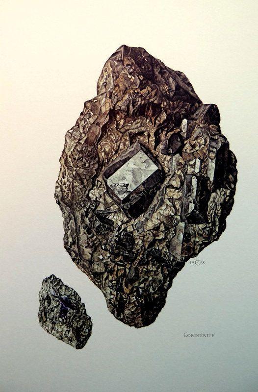 Jahrgang Kristall CORDIERIT MINERAL Gravur, 1967 Antik Edelstein Iolith Farbe Lithographie, Silikat Fels Stein Geologie Mineralogie drucken...