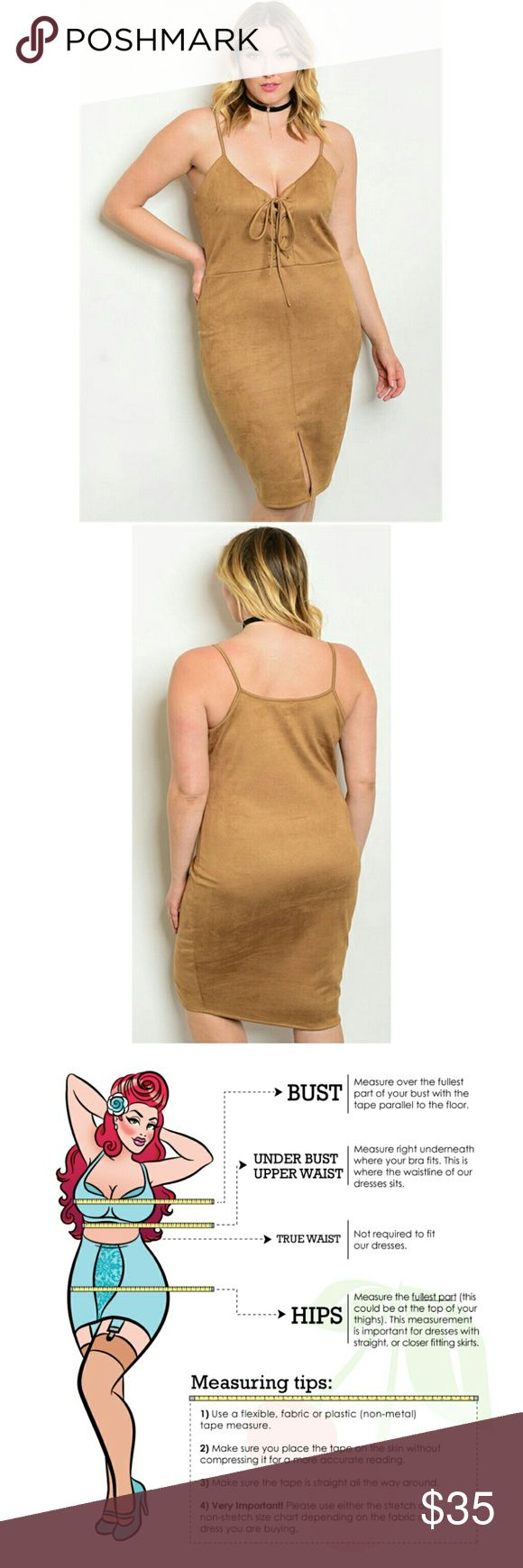 "(Plus) Curvy Boho Unique Faux Suede Dress Plus size spaghetti strap tie front faux suede bodycon dress. Camel Tan. Great to wear alone with heels. Supercute with cowboy boots! Fab layering piece. Country: USA Fabric Content: 96% POLYESTER 4% SPANDEX Size Scale: 1XL-2XL-3XL 1XL. L: 42"" B: 38"" W: 36"" BohoBeauRoseBoutique Dresses Midi"