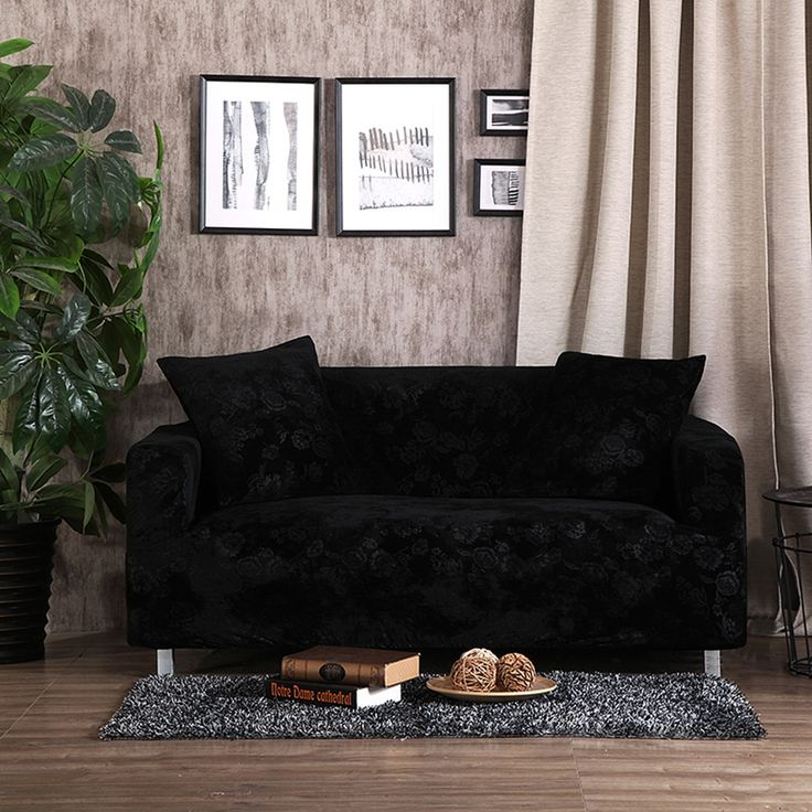 32 46USD Black Embossing Stretch Sofa Cover For Living Room,100% Polyester  Couch
