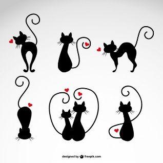 Illustrations de chats d'amour de vecteur