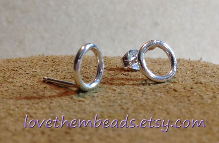 open circle sterling silver stud earrings - circle of life studs - - pinned by pin4etsy.com