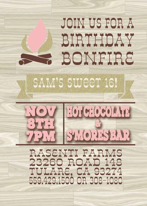 5x7 Bonfire Birthday Hot Chocolate Bar Birthday by BakedDesigns