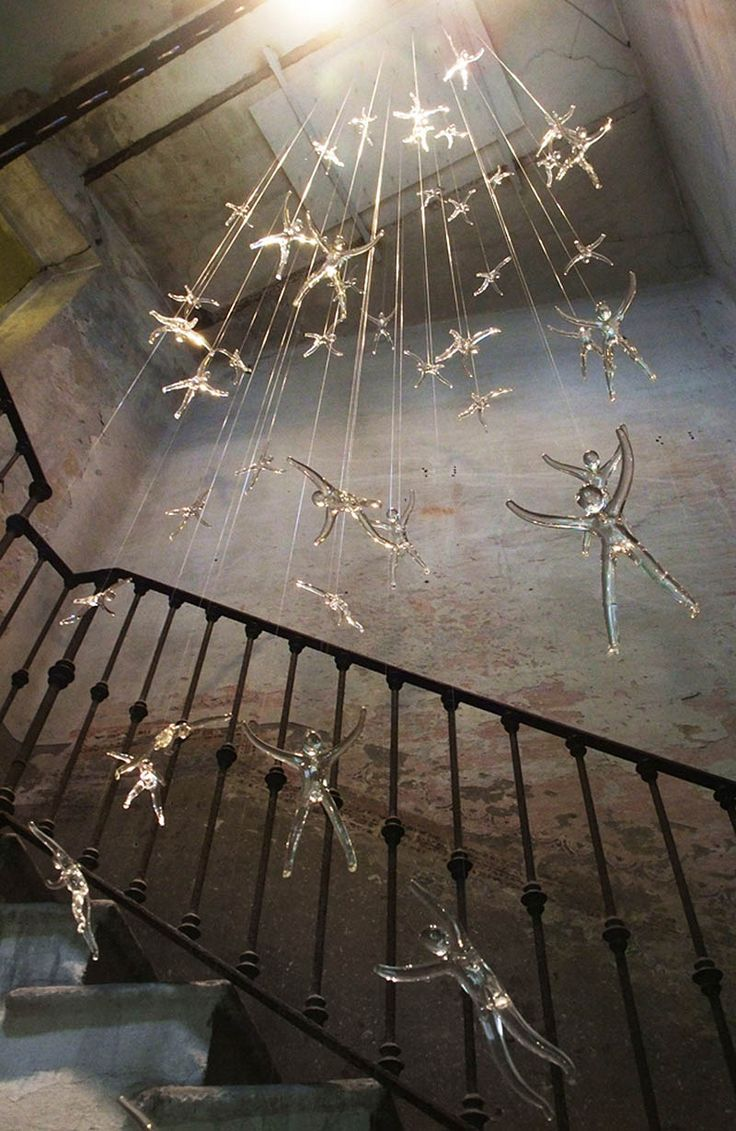 If It's Hip, It's Here: Angel Falls Chandelier. Glass Figures Lit With Halogen Spotlights In 3 Sizes By Nigel Coates.