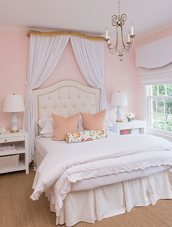 Girls Room With Tufted Headboard And Valance With Fabric
