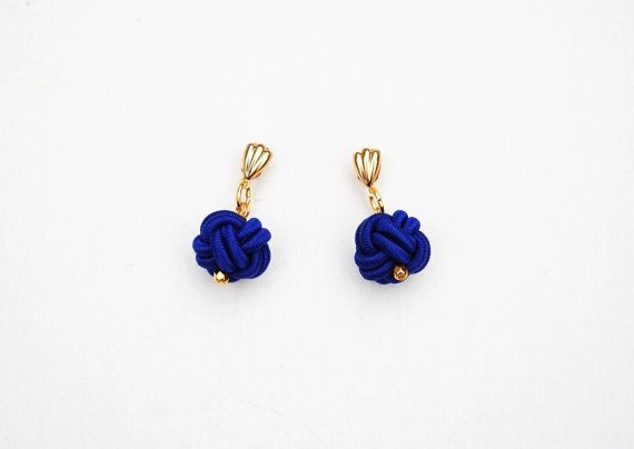 Chinese button knot earrings  indigo earrings by elfinadesign