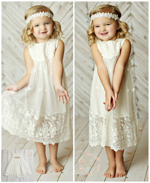 Ivory lace flower girl dress | Junebug Weddings