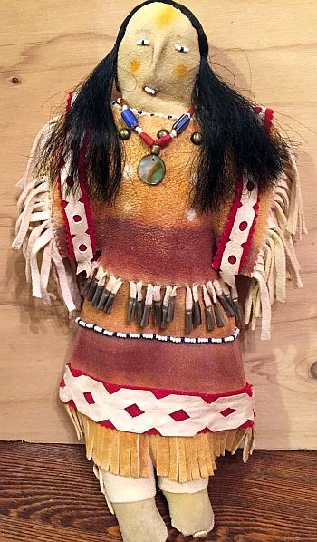 Plains Native American Made Beaded Sioux Leather Doll with Horse Hair.