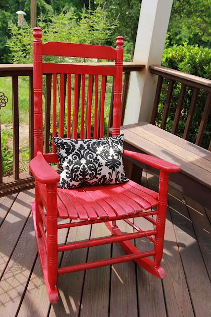 Summer project. Refresh old wooden rocker on porch!  Spray paint is amazing!