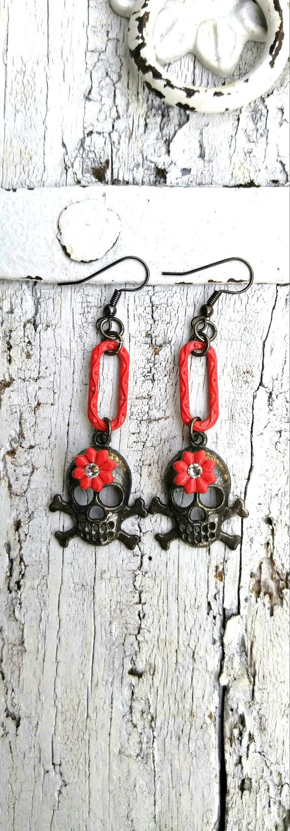 Red Flower SKULL EARRINGS Sugar Skull by SecretStashBoutique