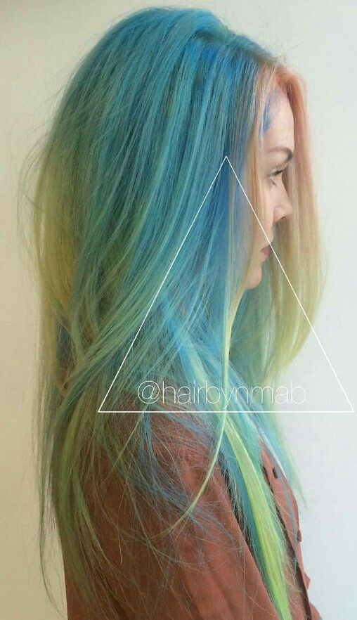 Blue rainbow dyed hair color @embe.meche