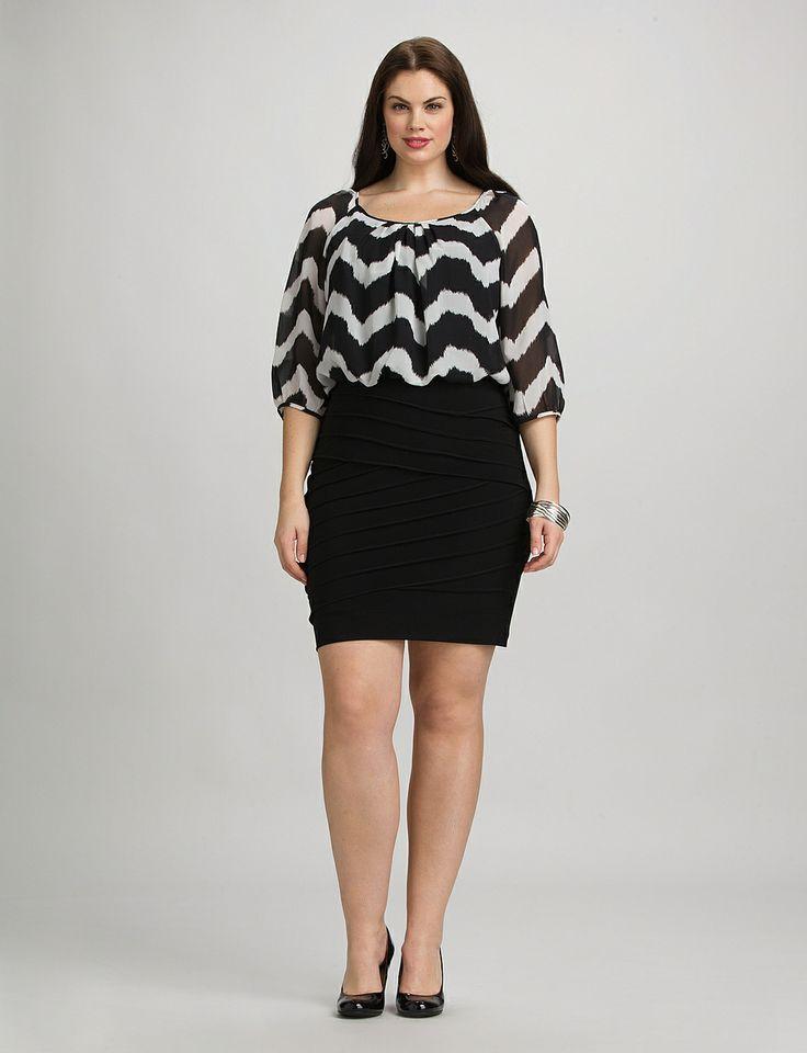 Plus Size | Dresses | Short Dresses | Plus Size Chevron Dress | dressbarn