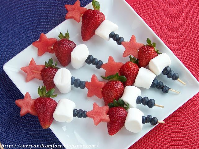 love the idea of adding marshmallows to fruit skewers!! cute for the 4th!!