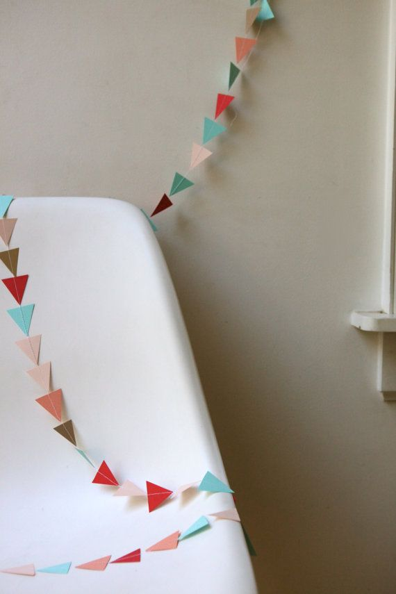 mint, red, peach, light pink and matte gold triangle garland