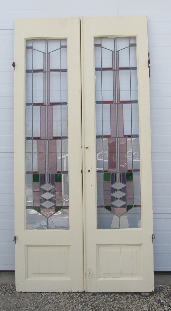 50x102 stained glass double doors DKTT