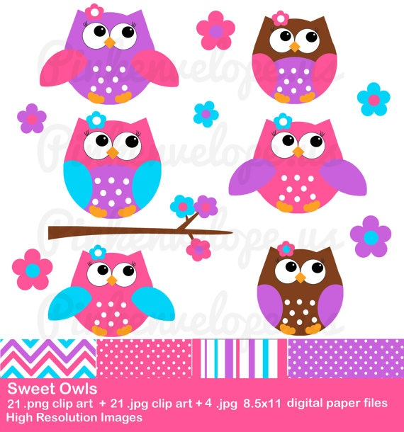 Cute Owl Clip Art - Pink Owl Clipart - commercial use clipart    Cute Owl Clip Art