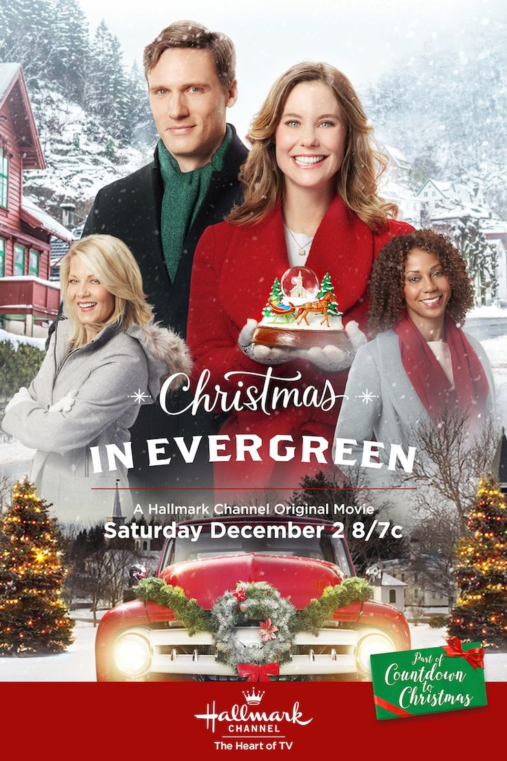 Christmas in Evergreen - Ashley Williams and Teddy Sears in the first movie based on the incomparable Hallmark Cards artwork by Geoff Greenleaf. #CountdownToChristmas #HallmarkChannel #ChristmasInEvergreen