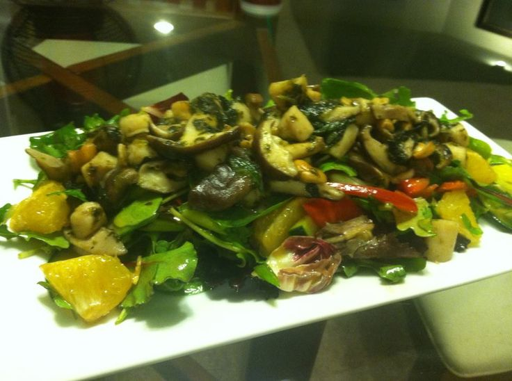 Sesame ginger salad with bay scallops and shiitake mushrooms | Kyle's ...