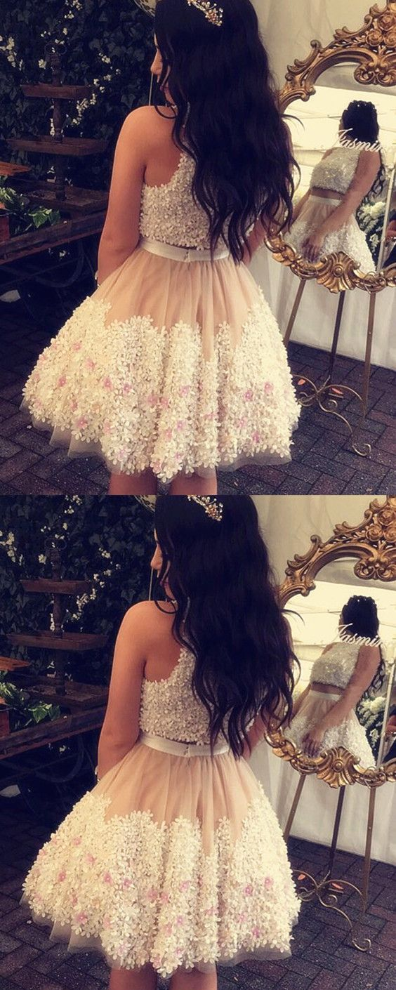 Aline floral lace homecoming dresses two piece prom dress short in