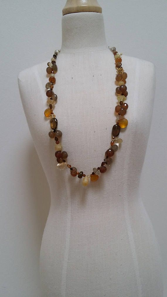 Semi precious autumn colours necklace.