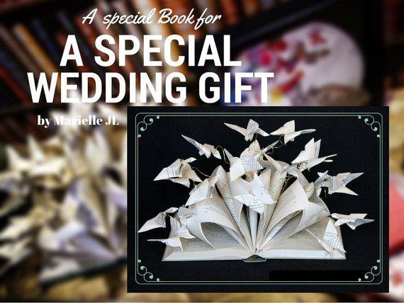 Libro-escultura mariposas de papel regalo de boda por MarielleJL