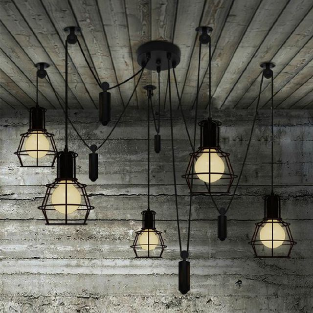 Novità spider Puleggia cucina Lampada a sospensione Bar regolabile Retro illuminazione industriale candelabro Sala da pranzo luce del pendente dell'annata