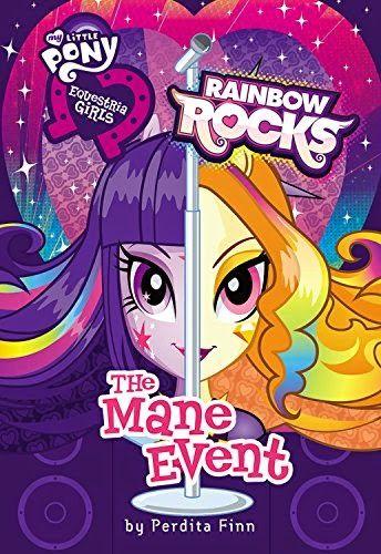 """Amazon ha publicado un libro de Rainbow Rocks llamado """"The Mane Event"""". La portada muestran las caras de Twilight Sparkle y Adagio Dazz..."""