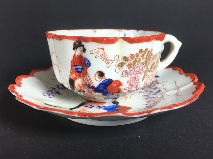 Japanese Geisha ware cup and saucer, probably early 20th century 1910-1920.