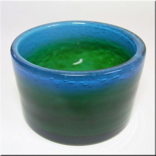 Ekenas Glasbruk Swedish blue + green glass vase, designed by John-Orwar Lake, signed to base.