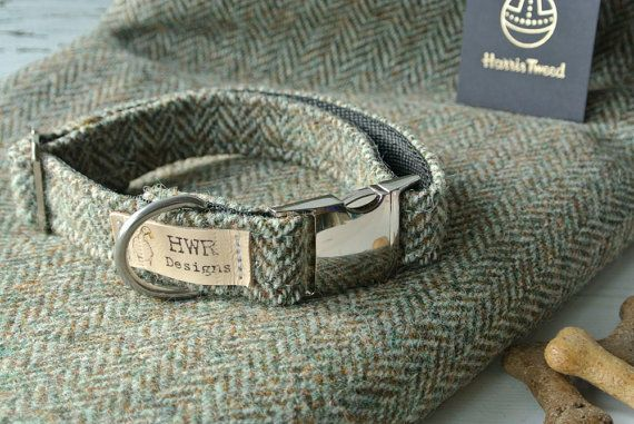 Designer Dog collars in smart Herringbone Tweed from the historic Harris Tweed Mills. Available in two colours a natural oatmeal and a pretty heather
